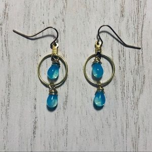 Blue Glass Tear Beads on Small Hoop